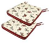 Lashuma Stuhlkissen mit Klettverschluss | 2 er Set hoch gepolsterte Polsterkissen | rot - beige Stuhlauflage 40 x 40 cm