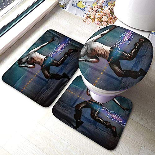 Aubrdon Jason Derulo Future History Badteppich Matten Set 3 Stück Anti-Rutsch-Pads Badematte + Contour + Toilettendeckel Abdeckung