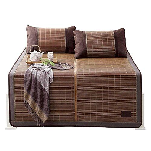 Liuyu · Tapis de bambou 1.5 1.8m lit pliant 1.2 Tapis épais Double-face trois pièces seul dortoir vigne lisse sans Barb double face bambou et rotin (avec deux taies d'oreiller en bambou)
