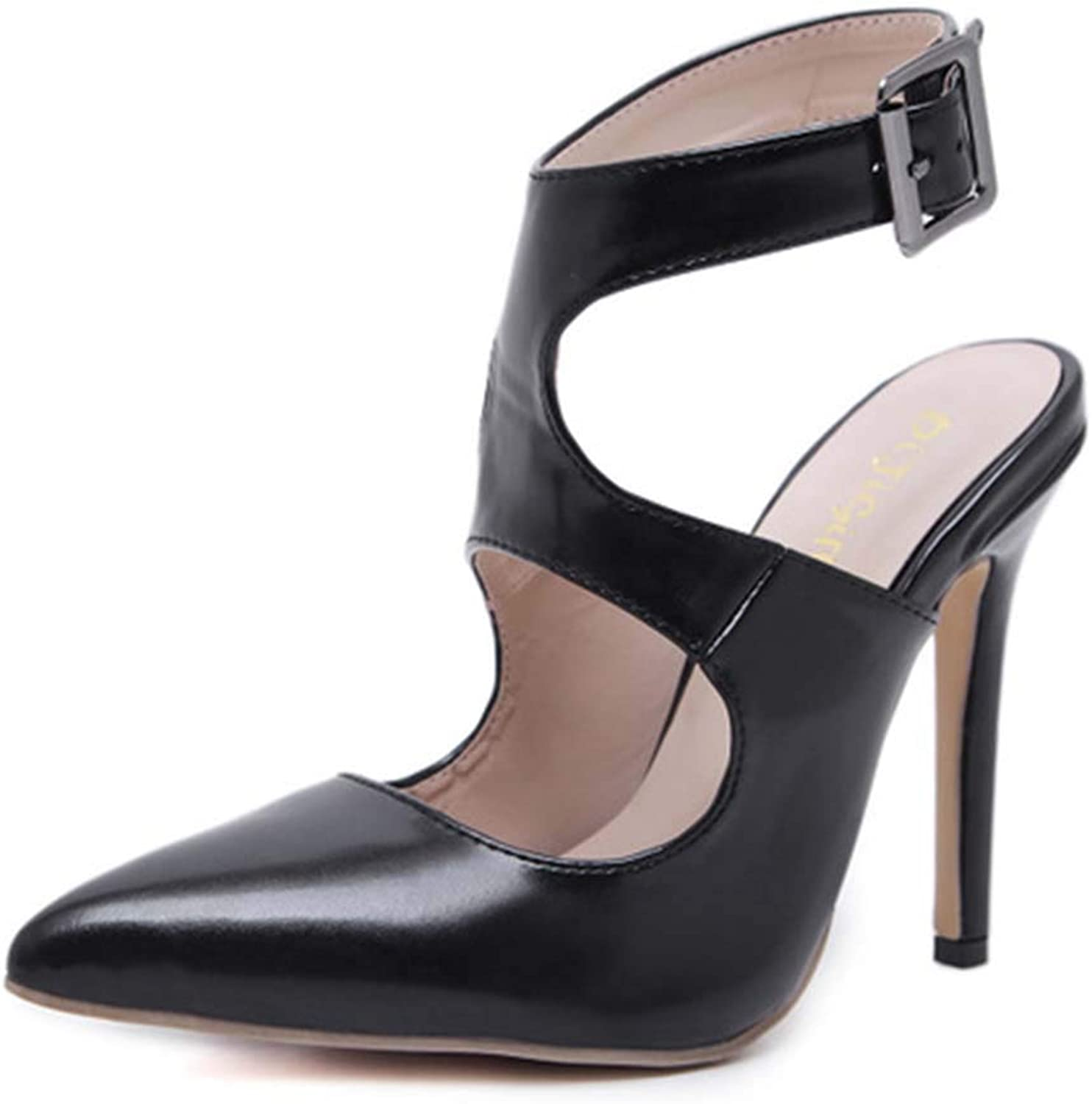 Womens Sandals Artificial PU Pointed Stiletto Heels Buckle Solid color Ladies Sandals Summer