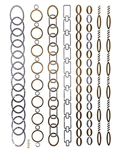 FLASH Silber GOLD Tattoo Einmaltattoos Ketten Armbänder Fußkettchen Tattoos YS76 - LK Trend&Style