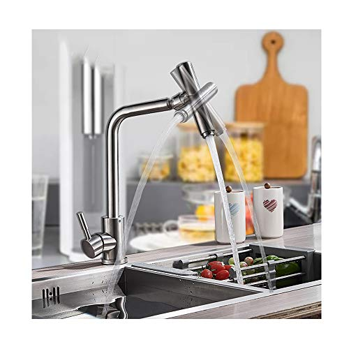 TAN Compact Kitchen Professione Rubinetti con Bocca Girevole in Ottone Rotary Faucet Single Handle Deck Mounted Calda e Fredda