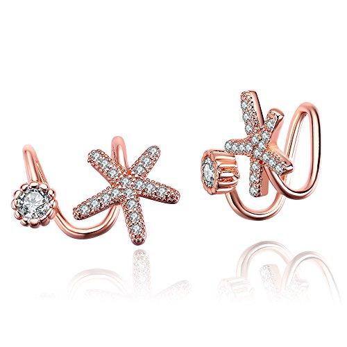 skyllc Oro di Rosa orecchino alla Moda Dolce Semplice e Bello di Zircon orecchino della Clip dell'orecchio delle Stelle Marine