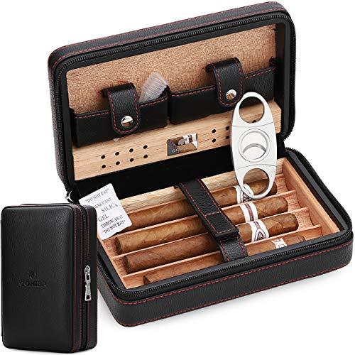 Time C club 4-Finger-Reiseetui aus Leder, tragbar, Zigarren-Humidor mit Zigarrenschneider und Luftbefeuchter, Geschenk für Trauzeugen, Geburtstagsgeschenk, Vatertagsgeschenk, Jahrestagsgeschenk