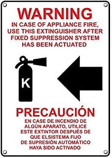 Weatherproof Plastic Vertical in Case of Appliance Fire, Use Extinguisher Bilingual Sign with English & Spanish Text and Symbol
