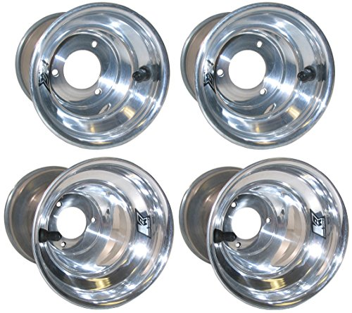 "NEW KEIZER KW2 5"" ALUMINUM WHEEL SET FOR PAVEMENT KARTING & QUARTER MIDGETS, POLISHED FRONTS & REARS, FOR PAVEMENT GO CARTS, SHIFTER KARTS, SPEEDWAY KARTS, SUPERKARTS, PAVEMENT CHAMP KARTS"