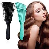 J TOHLO Cepillo desenredante, Cepillo desenredante para cabello afro, peine para desenredar para cabello afroamericano 3a 4c, Mojado, Para Rizado, Grueso, Ondulado, (Negro + Verde)
