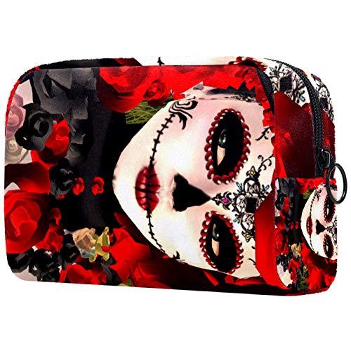 Große Schminktasche Reißverschlusstasche Travel Cosmetic Organizer für Frauen und Mädchen - Mexican Rose Skull Girl