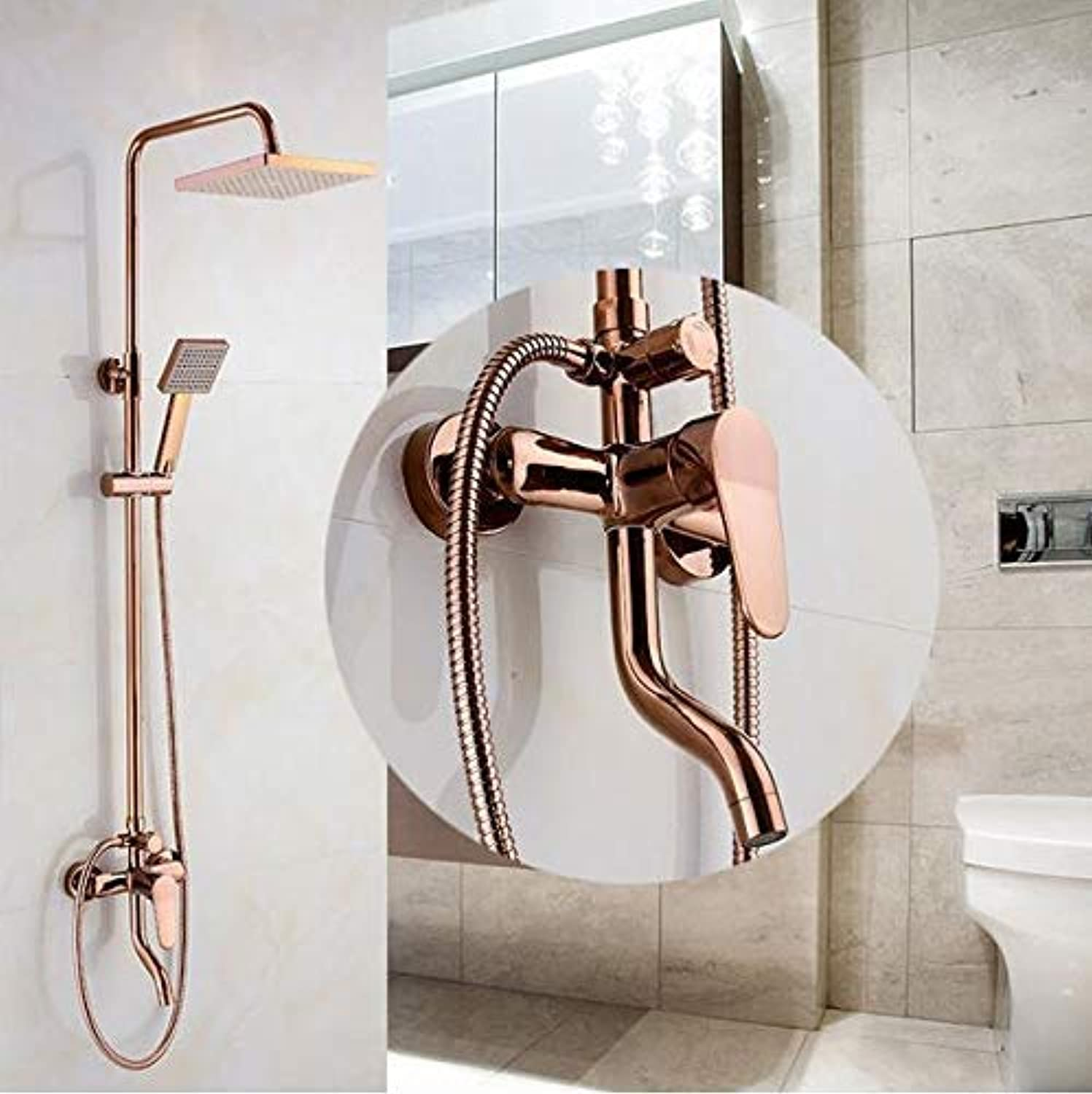 XINYUANJIAFANG Bathroom pink gold Shower Set Wall Mounted 8  Rainfall Shower Mixer Taps Faucet 3 Functions Mixer Valve Square Head