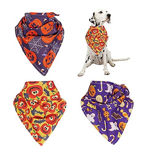 3 Pieces Dog Bandanas Halloween Pet Bandana, Halloween Costumes for Dogs with Pumpkin Ghost...