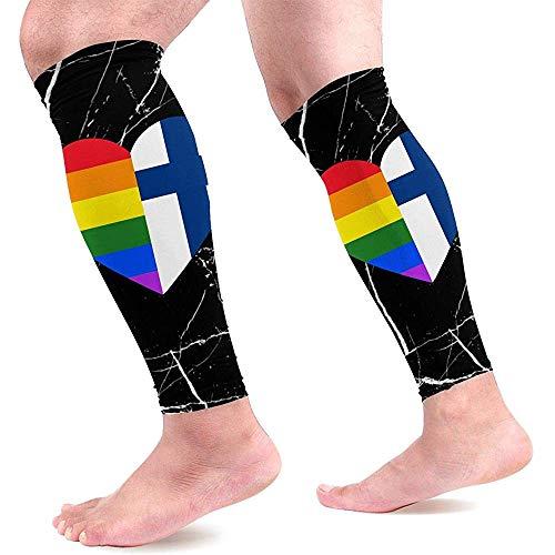 LGBT Rainbow Finland Vlag hart kalf compressie mouwen voor mannen en vrouwen Beste voetloze compressie sokken voor hardlopen moederschap 1 paar