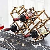 Estante de madera plegable para vino, mesa de almacenamiento, estante de madera rústica, organizador de decoración de encimera, madera carbonizada, 10 ranuras