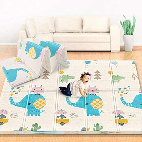 Firares 0.6inch Thicken Foam Reversible Baby Play Mat, Foldable Kids Crawling mat, XL BPA Free Waterproof Floor Baby Crawling Mat for Infants, Toddlers Indoors Outdoors Use