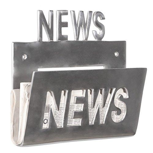 FineBuy Deko Wand Zeitungsständer Alu-Minium Zeitungshalter Metall Zeitschriftenhalter Industrial Style Silber-Farben zum auf-hängen Vintage Zeitschriftenständer hängend mit Ablagefach 30 x 27 cm