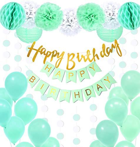 Regendeko 32er Set Mint Grün Happy Birthday Ballons Banner Pompoms Geburtstagsdeko Party Dekorationen geburtstagsdeko Kinder