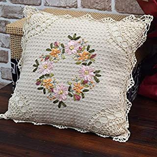 Witgift Vintage Encaje Decorativo Cojín 39 x 39 cm ganchillo cojín rústico bordado macramé algodón cojín