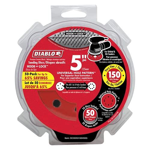 Diablo DCD050150H50G 5 in. 150-Grit Universal Hole Random Orbital Sanding Disc (50-Pack)