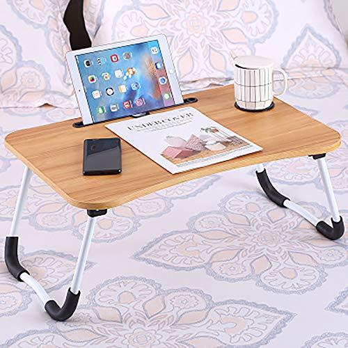 ASLD Mesa de portátil, Escritorio de pie para Laptop para Cama y sofá, Bandeja de Cama portátil, Escritorio de Regazo/Taza, Antideslizante con Espuma piernas walnut-60 * 40 * 28cm