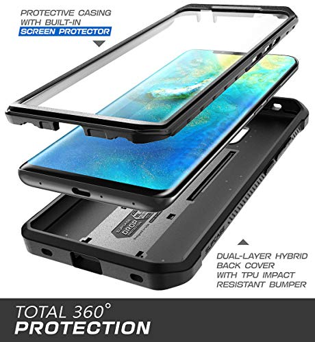 SupCase Huawei Mate 20 Pro Hülle 360 Grad Handyhülle Bumper Case Robust Schutzhülle Cover [Unicorn Beetle Pro] mit Integriertem Displayschutz für Huawei Mate 20 Pro/LYA-L29 (6.39 Zoll) 2018 (Schwarz)