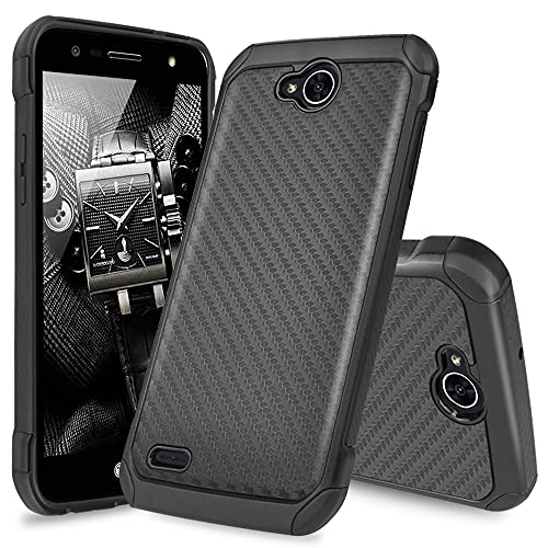 TJS Phone Case Compatible with LG X Power 2 M320/LG Fiesta LTE/LG X Charge/LG Fiesta 2, Shock Carbon Fiber Back with Hard TPU Inner Layer (Black)