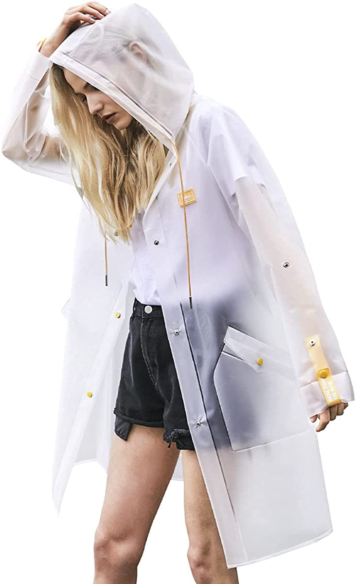 L-Rain Durable TPU Clear Rain Coat for Adults - Women and Men Fashion Hooded Rain Poncho