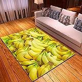 DRTWE Alfombra,Banana Fruta Patrón De Terciopelo Grande Alfombra De La Zona Antideslizante para La Sala De Estar Dormitorio Suave Piel Sintética Interior Al Aire Libre Yoga Meditación Niño Jue