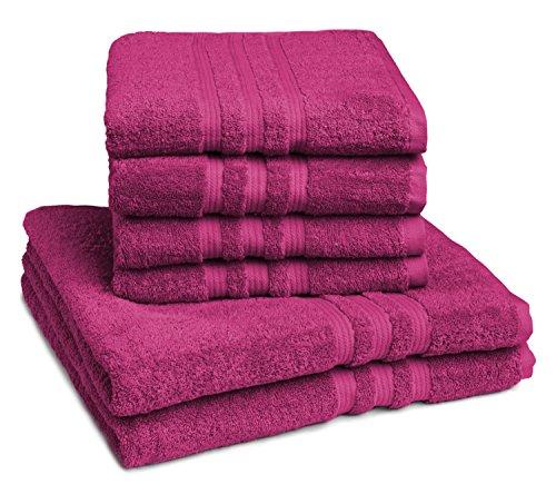 sleepling Handtuch Duschtuch 6er Set (4 x Handtuch 50 x 100 cm / 2 x Duschtuch 70 x 140 cm), 100% Baumwolle (550 gr. / m²), Beere