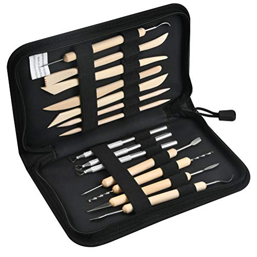 14-teiliges ModellierWerkzeug Töpferwerkzeug Set Doppelseitige Carving Töpfer Werkzeuge 14 Stück Ton schnitzen Werkzeug Kit Carving Tools Clay Keramik Skulptur inkl. Aufbewahrungstasche Schutzärmel