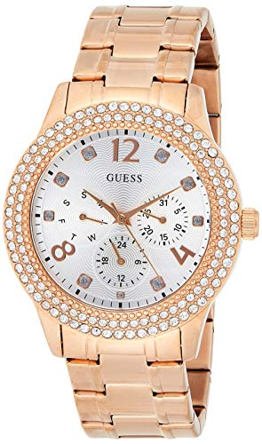 Guess Damen Analog Quarz Uhr mit Edelstahl Armband W1097L3