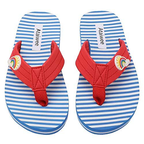 Ataiwee Sandálias Slide para meninas – Sandálias infantis para banho de chuveiro com glitter ao ar livre praia piscina sapatos impermeáveis., 3005 Listras azuis, 11 Little Kid