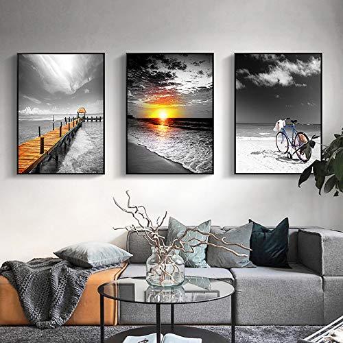 WSNDGWS Einfaches Wohnzimmer, Meerblick, Dekoratives Gemälde, Schlafzimmerwandgemälde, Triptychon, Kein Bilderrahmen B4 60x90cmx3