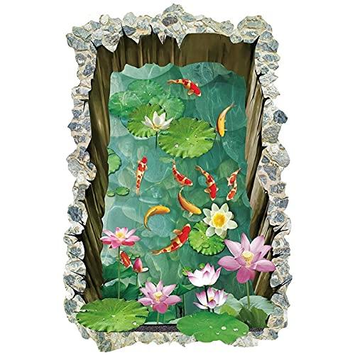 Piso de estanque de peces 3D de 60X90Cm para habitaciones de niños, suelo de dormitorio antideslizante, decoración de suelo para el hogar, póster mural, pegatina para pared, calcomanías artísticas