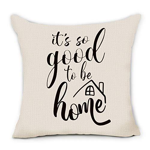Pinata It's So Good to be Home - Fundas de almohada de lino y algodón de primera calidad para decoración de inauguración del hogar, 45 x 45 cm