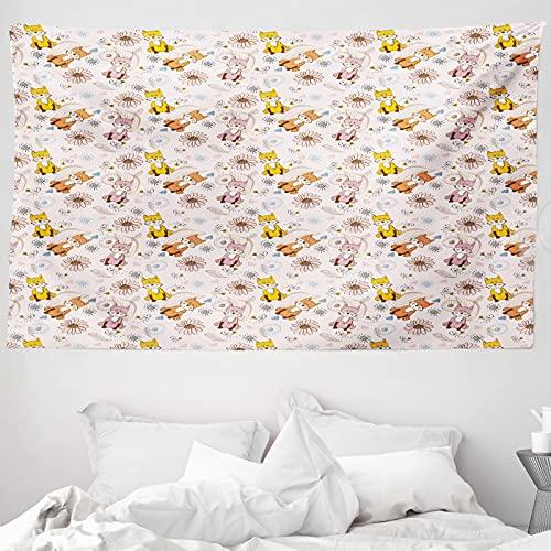 ABAKUHAUS Tier Wandteppich & Tagesdecke, Cartoon-Stil Smiling Füchse, aus Weiches Mikrofaser Stoff Wand Dekoration Für Schlafzimmer, 230 x 140 cm, Off White Multicolor