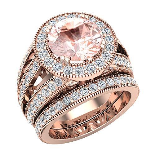 Morganite Wedding Rings Bridal Ring sets for women 14K Rose gold Real Accented Diamond Ring 9.10 mm 4.95 carat tw