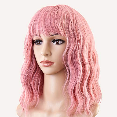 Akkya Pink Wigs for Women Pastel Short Hair Wig with Bangs Colored Wavy Party Wig Synthetic Light Pink Bob Shoulder Length Wig for Holoween Costume Cosplay