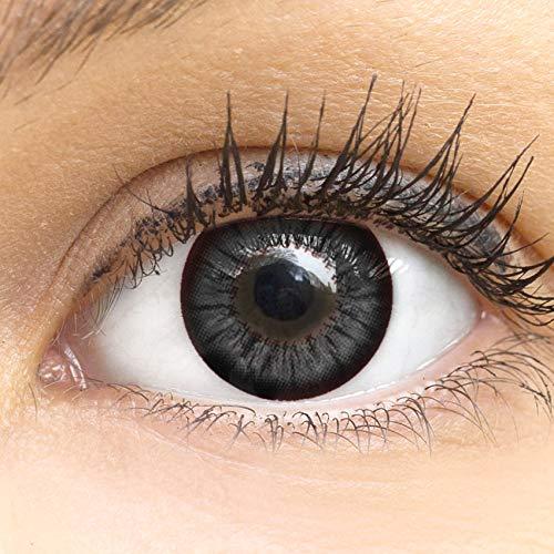 MeralenS Anime Manga Schwarze Circle Lenses - Sweet Schwarz ohne Stärke mit Kontaktlinsenbehälter - 15mm Farbige Big Eyes Contact Lenses