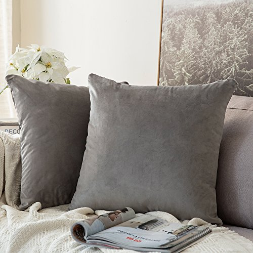 MIULEE Velvet Soft Soild Microfiber Decorative Square Pillow Case Throw Cushion Cover for Sofa Bedroom with Invisible Zipper 16x16 Inch 40x40cm Grey Set of 2 Lined