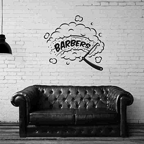 ASFGA Friseursalon Friseur Aufkleber Aufkleber Poster Vinyl Wandkunst Dekoration Fensterdekoration Haarschnitt Rasiermesser Blase Glas Aufkleber 58x64cm