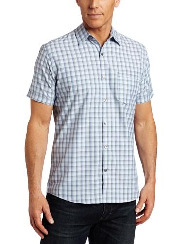 IZOD Men's Breeze Short Sleeve Button Down Gingham Shirt, BLUE, Large