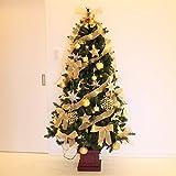 LED 木製ポットセットツリー クリスマスツリー 180cm (ゴールド)