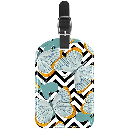 Luggage Tags Gray Blue Butterflies Leather Travel Suitcase Labels 1 Packs