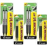 Pilot Precise V5 RT Retractable Rolling Ball Pens, Extra Fine Point, Black Ink, 6 Pens (4-Pack/Bundle, Black)