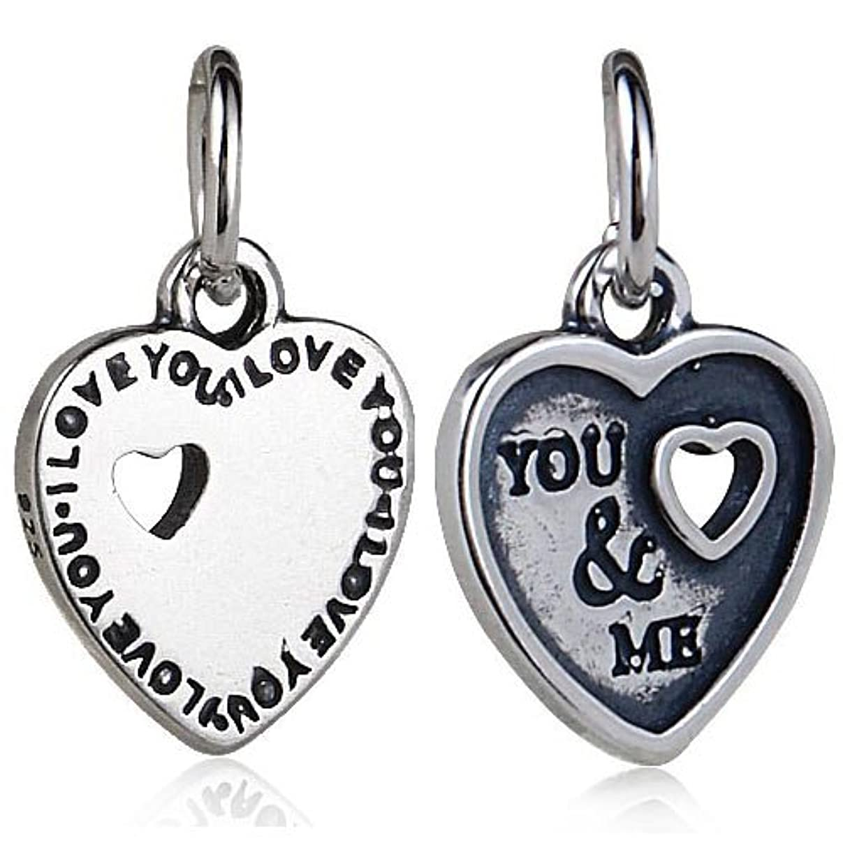 YOU & ME Dangle Charm 925 Sterling Silver Heart