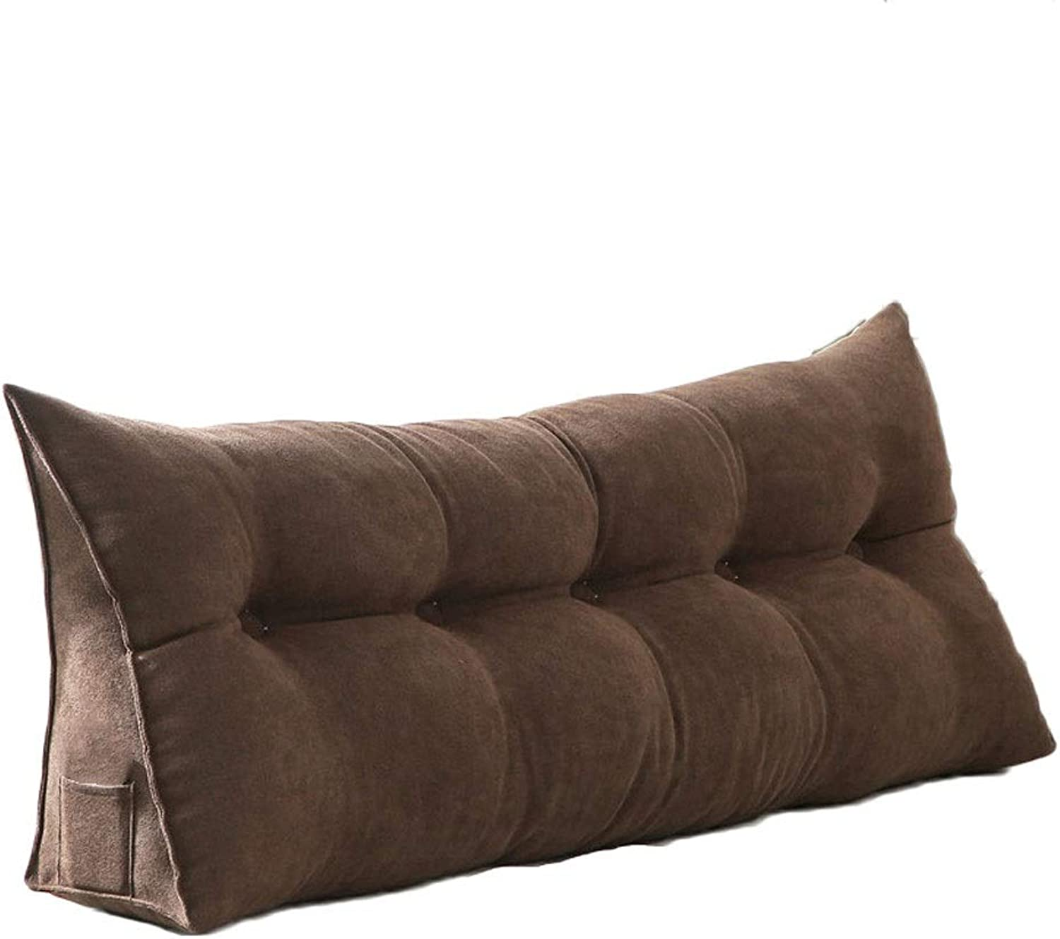 Nordic Simple Solid color Cushion Bed Triangle Back Long Pillow Sofa Large Cushion Zipper Removable and Washable (color   Brown, Size   120  20  50cm)