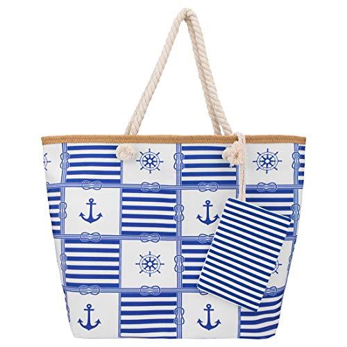 SenPuSi Borsa da Spiaggia Grande con Chiusura Zip 55 * 45 * 16 cm Shopper Borsa Donna Bambina Tela Con Chiusura Cerniera Zip A Spalla Manici Corda (Nave)