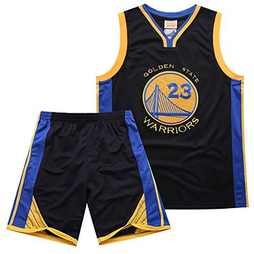 LLIIAYUK Warriors No. 23 Bestickte Sommer-Basketballuniform aus grünem Trikot, Outdoor-Sportbekleidung für Herren, Basketball-Trainingsanzug-Set, Netzstickmaterial, Herren-Basketballtrikot-Black-XXL