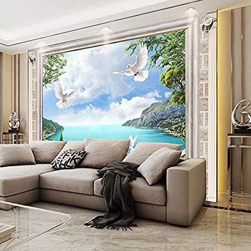 Modernes minimalistisches Landschaftswandtuch Lake Light Mountain Sofa im chinesischen Stil TV-Hintergrundtapete An Wanddekoration fototapete 3d Tapete effekt Vlies wandbild Schlafzimmer-200cm×140cm