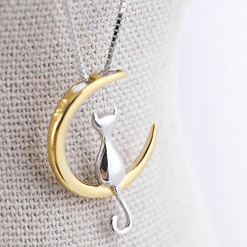 Elistelle Halskette mit Anhänger (Mond mit Katze), 925er Sterlingsilber, goldfarbener Mond, romantischer Schmuck, metall, Wie abgebildet, As the Description