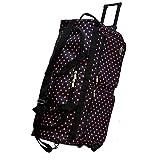 'E-Z Roll' 30-Inch Large Wheeled Duffel Bag/Polka Dots Rolling Duffel Bag